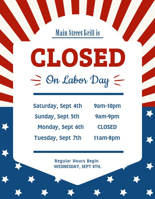 Labor Day Closed Flyer