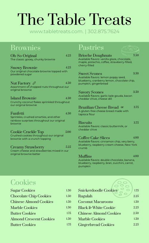 Green Dessert Menu