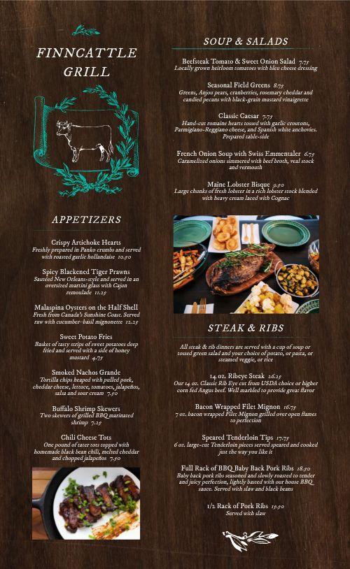 Wooden Steakhouse Menu