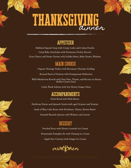 Thanksgiving Leaves Menu