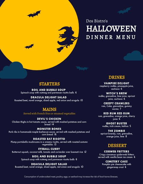 Halloween Holiday Dinner Menu