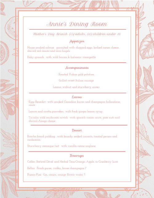 Red Mothers Day Menu