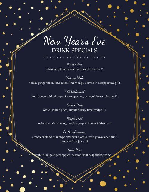 New Years Eve Stars Menu