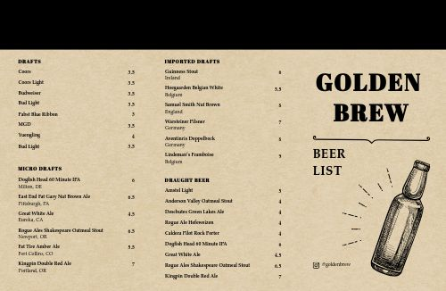 Brewing Company Folded Menu